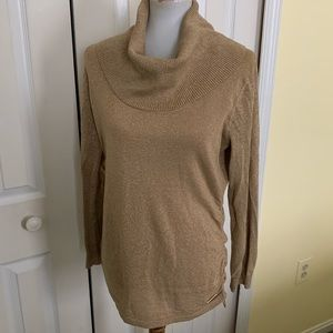 Michael Kors gold cowl neck sweater- L